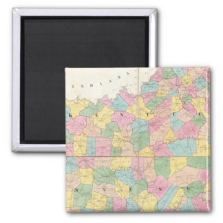 Map of Kentucky & Tennessee Square Magnet