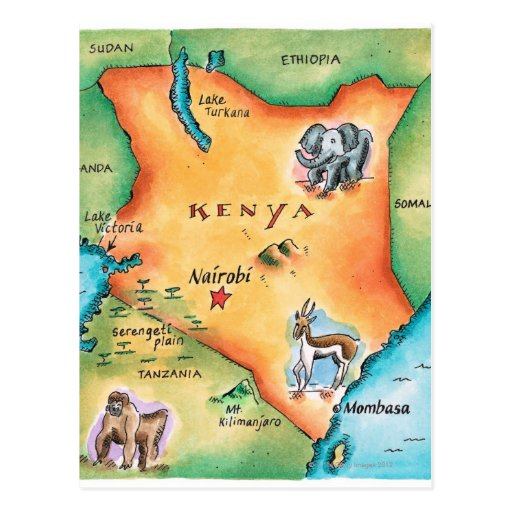 Map of Kenya Post Cards