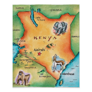 Map of Kenya Poster