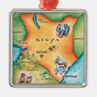 Map of Kenya Silver-Colored Square Decoration