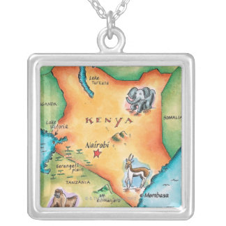 Map of Kenya Silver Plated Necklace
