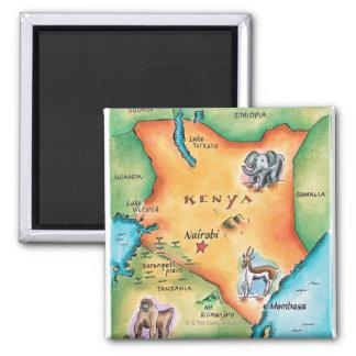 Map of Kenya Square Magnet