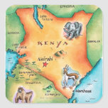 Map of Kenya Square Stickers