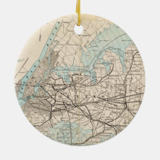 Map of Kings, Queens, Long Island Christmas Ornament