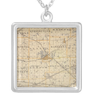 Map of La Porte County Silver Plated Necklace