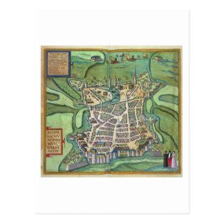 Map of La Rochelle, from 'Civitates Orbis Terrarum Postcard