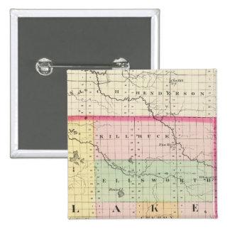 Map of Lake County, Michigan 15 Cm Square Badge