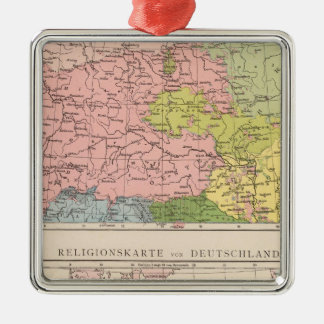 Map of Languages and Religions in Germany Silver-Colored Square Decoration