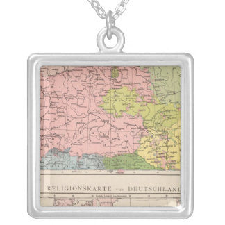 Map of Languages and Religions in Germany Silver Plated Necklace