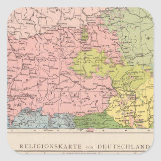 Map of Languages and Religions in Germany Square Sticker
