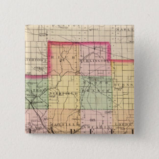 Map of Lapeer County, Michigan 15 Cm Square Badge