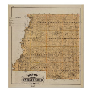 Map of Le Sueur County, Minnesota Poster