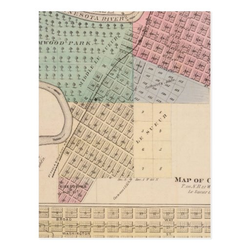 Map of Le Sueur, Map of Cleveland, Minnesota Postcards