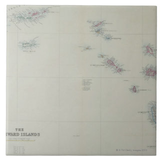 Map of Leeward Islands Large Square Tile