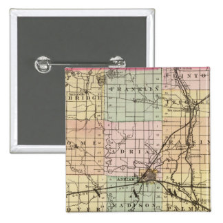 Map of Lenawee County, Michigan 15 Cm Square Badge