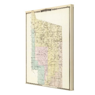 Map of Lincoln County Canvas Print