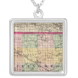 Map of Livingston County, Michigan Silver Plated Necklace