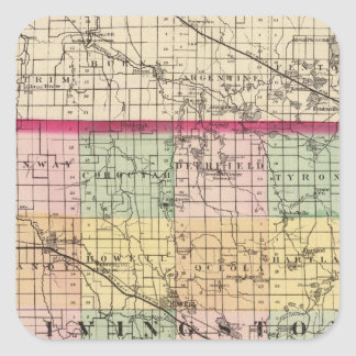 Map of Livingston County, Michigan Square Sticker
