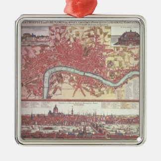 Map of London Silver-Colored Square Decoration