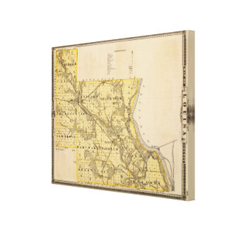 Map of Louisa County, State of Iowa Canvas Print