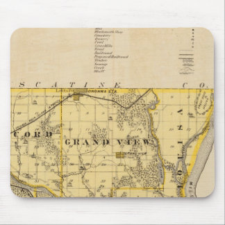 Map of Louisa County, State of Iowa Mouse Mat