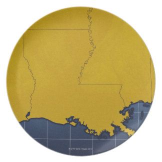 Map of Louisiana 2 Dinner Plates