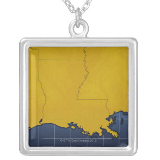 Map of Louisiana 2 Silver Plated Necklace