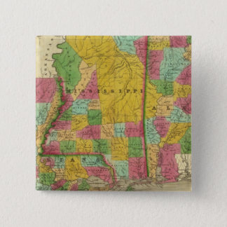 Map of Louisiana, Mississippi and Alabama 15 Cm Square Badge