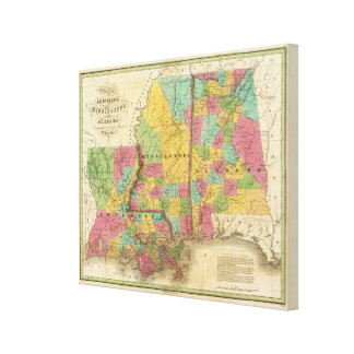 Map of Louisiana Mississippi And Alabama Canvas Print