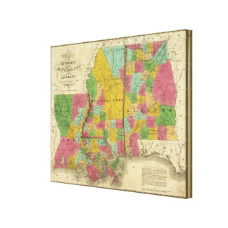 Map of Louisiana, Mississippi and Alabama Canvas Print
