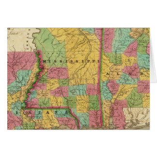 Map of Louisiana Mississippi And Alabama Card