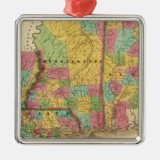 Map of Louisiana Mississippi And Alabama Christmas Ornament