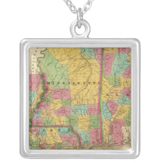 Map of Louisiana Mississippi And Alabama Silver Plated Necklace