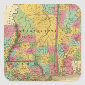 Map of Louisiana Mississippi And Alabama Square Sticker