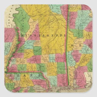 Map of Louisiana, Mississippi and Alabama Square Sticker