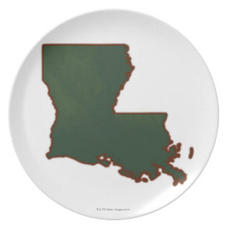 Map of Louisiana Party Plates