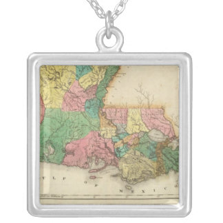 Map Of Louisiana Silver Plated Necklace