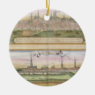 Map of Lubeck and Hamburg, from 'Civitates Orbis T Christmas Ornament