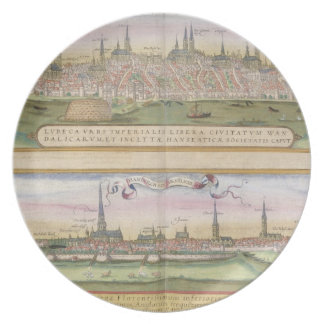 Map of Lubeck and Hamburg, from 'Civitates Orbis T Plate