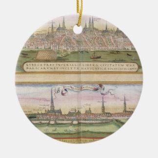 Map of Lubeck and Hamburg, from 'Civitates Orbis T Round Ceramic Decoration