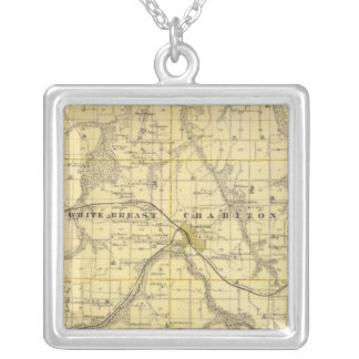 Map of Lucas County, State of Iowa Silver Plated Necklace