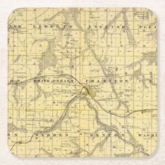 Map of Lucas County, State of Iowa Square Paper Coaster