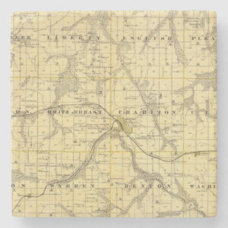 Map of Lucas County, State of Iowa Stone Coaster
