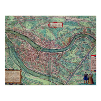 Map of Lyon, from 'Civitates Orbis Terrarum' by Ge Post Card
