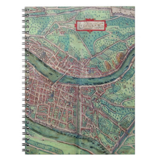 Map of Lyon, from 'Civitates Orbis Terrarum' by Ge Spiral Notebook