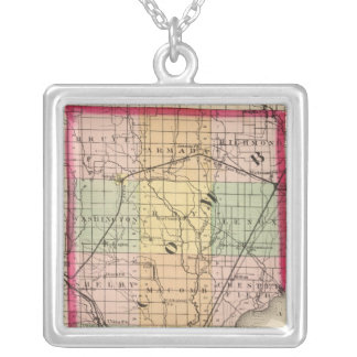 Map of Macomb County, Michigan Silver Plated Necklace