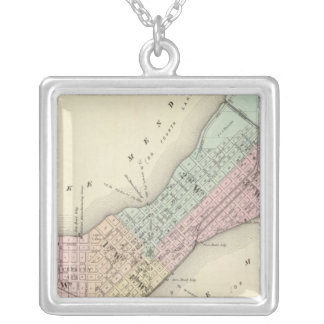 Map of Madison, Wisconsin Silver Plated Necklace