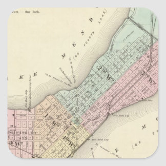 Map of Madison, Wisconsin Square Sticker