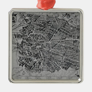Map of Madrid Silver-Colored Square Decoration
