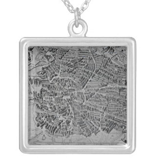 Map of Madrid Silver Plated Necklace